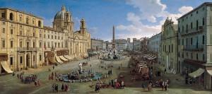 Quadro del 1699 di Caspar van Wittel che rappresenta la struttura di allora di Piazza Navona, a Roma