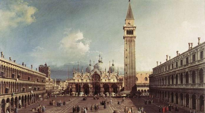 La fama di Piazza San Marco a Venezia è legata anche alle vedute di artisti come il Canaletto (qui un quadro del 1730 conservato oggi a Cambridge)