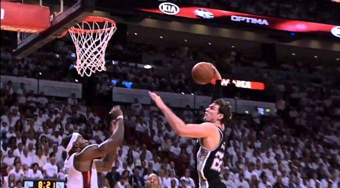 La clamorosa stoppata di LeBron James ai danni di Tiago Splitter nelle finali del 2013