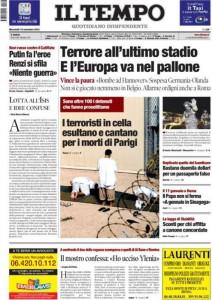 Una recente prima pagina del quotidiano romano Il Tempo
