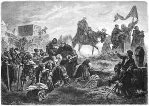 Il domenicano Johann Tetzel mentre vende le indulgenze in un disegno ottocentesco di Carl von Häberlin