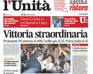 Una recente prima pagina de l'Unità