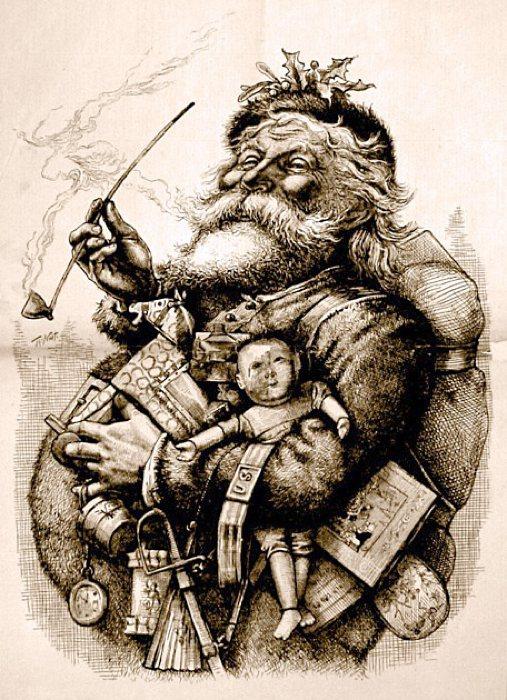 Babbo Natale in una rappresentazione ottocentesca