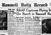 La prima pagina del Roswell Daily Record che si occupava dei dischi volanti del '47