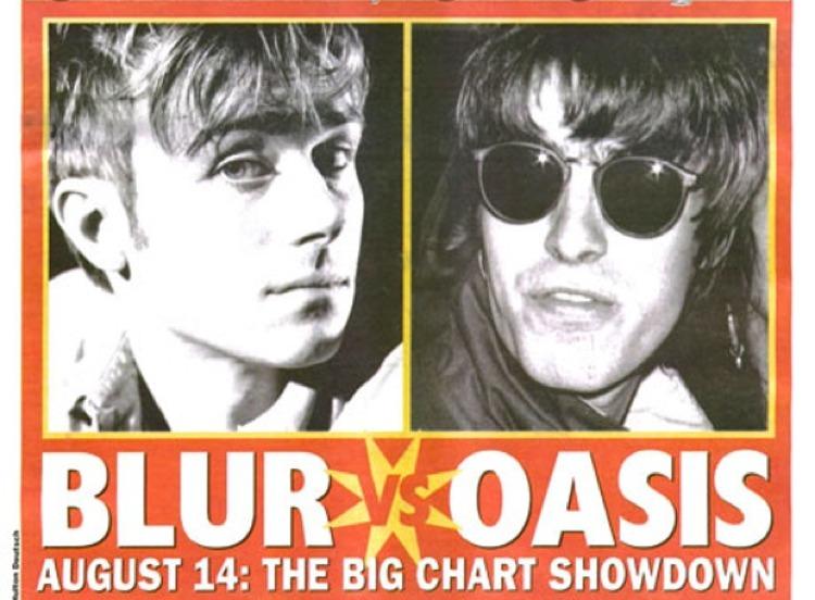 Una celebre copertina di NME dell'agosto 1995 che metteva in competizione i Blur e gli Oasis, entrambi paladini del britpop