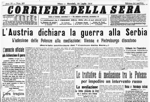 La prima pagina del Corriere della Sera il giorno successivo allo scoppio del conflitto
