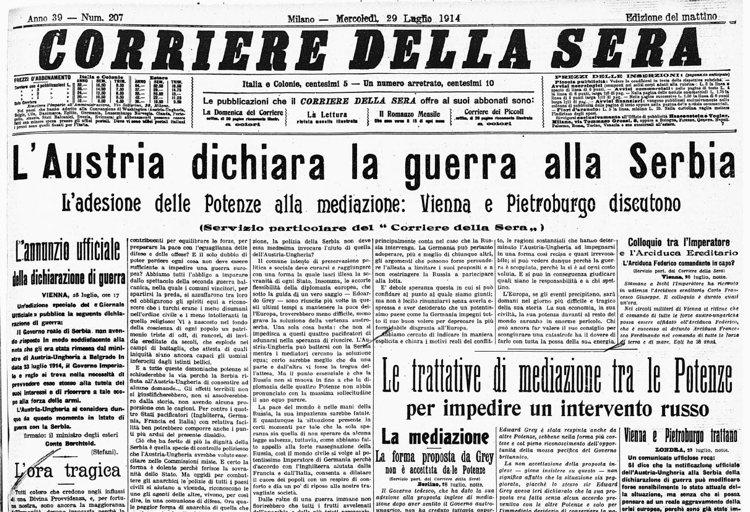 Risultati immagini per dichiarazione di guerra prima guerra mondiale