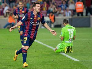 Leo Messi in gol nel 2014 (foto di Lluís via Flickr)
