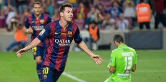 Leo Messi in gol nel 2014 (foto di Lluís via Flickr)