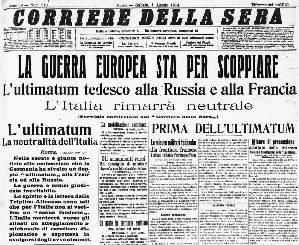 Il Corriere della Sera annuncia gli ultimatum tedeschi all'inizio della Prima guerra mondiale
