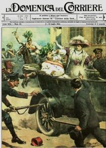 L'attentato di Gavrilo Princip su La Domenica del Corriere