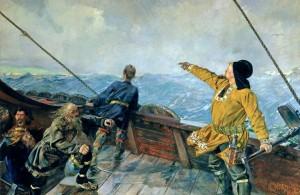 Leif Erikson scopre l'America in un disegno di fine Ottocento di Christian Krohg