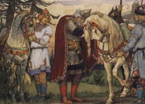 Oleg dà l'addio al suo cavallo in un disegno di fine Ottocento del russo Viktor Vasnetsov