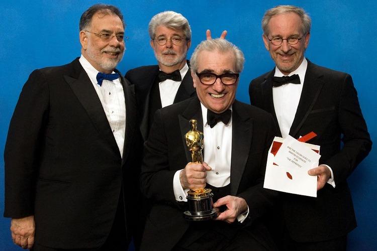 Alcuni dei migliori registi americani viventi: da sinistra, Francis Ford Coppola, George Lucas, Martin Scorsese e Steven Spielberg