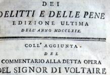 Il frontespizio di Dei delitti e delle pene di Cesare Beccaria, capolavoro dell'Illuminismo italiano