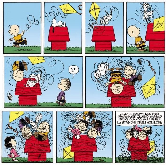 Charlie Brown lotta col suo aquilone