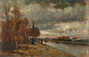 """""""Canale in Olanda"""", una delle ultime opere di Tina Blau, datata 1916"""