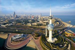 Il panorama aereo di Kuwait City