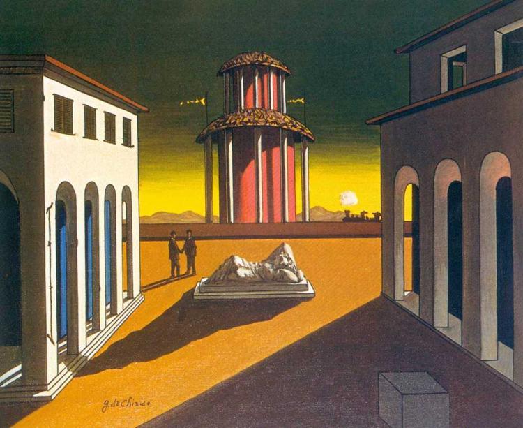 Piazza d'Italia (1913) di Giorgio de Chirico, uno dei capolavori della pittura metafisica