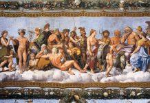 Le principali divinità greche rappresentate da Raffaello e dalla sua scuola nella Loggia di Psiche a Roma, nella Villa Farnesina
