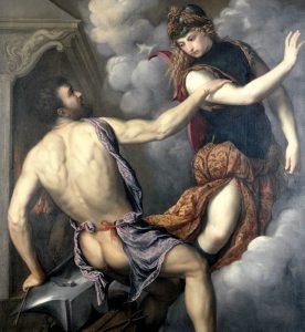 Efesto fa le sue avances ad Atena in un quadro di Paris Bordone