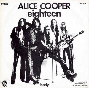 Alice Cooper e la sua band sulla copertina di Eighteen