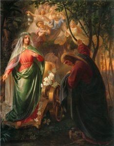 Dante e Beatrice in un quadro di Carl Wilhelm Friederich Oesterly