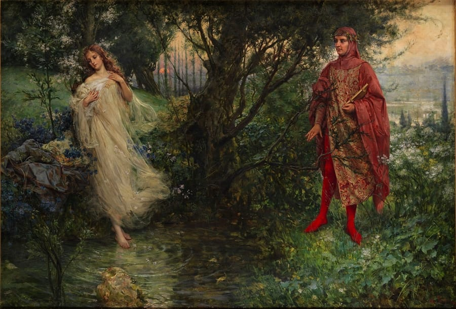 Dante e Beatrice dipinti da Salvatore Postiglione