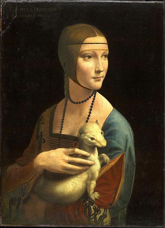 La celebre Dama con l'ermellino di Leonardo da Vinci