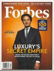 Axel Dumas sulla copertina di Forbes