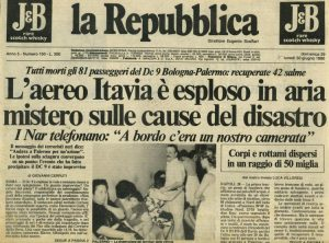 La prima pagina di Repubblica con l'annuncio della strage di Ustica