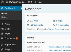 La dashboard di WordPress