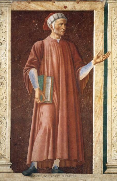 Un riconoscibilissimo Dante nell'opera di Andrea del Castagno