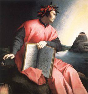 La versione del Bronzino, con il Purgatorio alle spalle di Dante