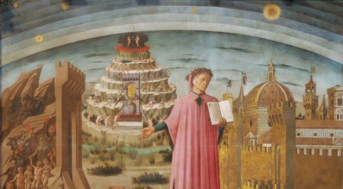 Celebre ritratto di Domenico di Michelino in cui Dante Alighieri è attorniato dagli elementi della sua vita e delle sue opere