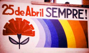 Murales che festeggia la Rivoluzione dei garofani