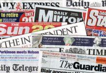 Alcune delle più famose testate della carta stampata britannica