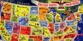 Una cartina degli stati USA d'altri tempi, non precisissima ma suggestiva