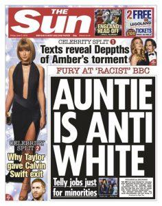 Una recente prima pagine del Sun