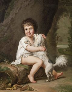 "Il quadro ""Two Year Old Henri Bertholet-Campan With His Dog Aline"" di Adolf Ulrik Wertmüller, che rappresenta un Piccolo Cane Leone"