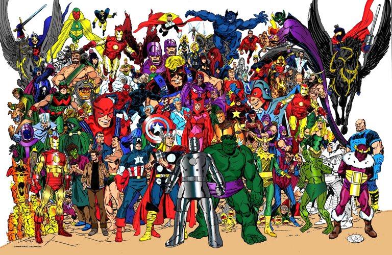 Alcuni personaggi storici degli Avengers, tra amici e nemici, in un disegno di John Byrne
