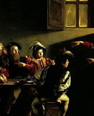 Particolare della Vocazione di San Matteo, una delle opere più famose di Caravaggio