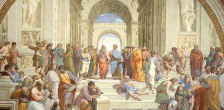 La scuola di Atene, famoso affresco di Raffaello Sanzio che rappresenta tutti i principali pensatori greci della storia della filosofia