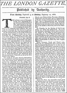 Un'edizione del 1666 della London Gazette