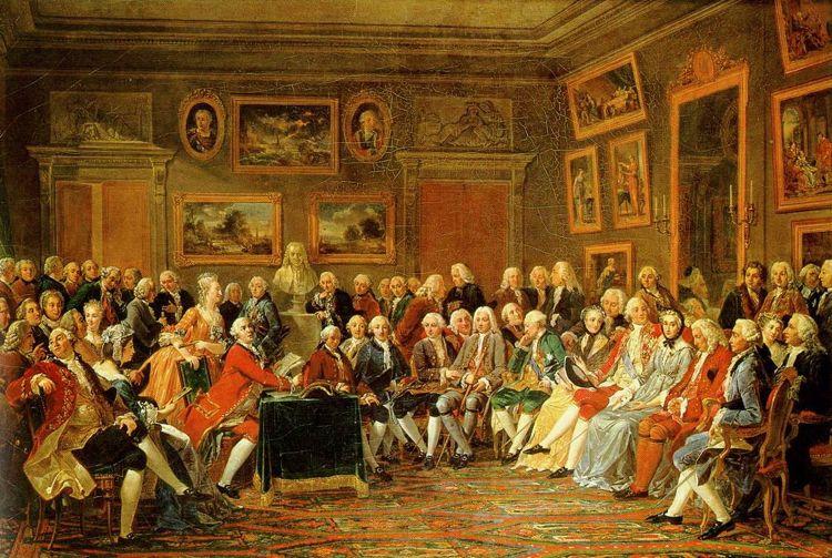 La lettura, presso il salotto di Madame Geoffrin, di una tragedia di Voltaire mentre questi era esiliato, alla presenza di molti filosofi illuministi (dipinto di Charles Gabriel Lemonnier)