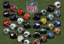 I caschi delle franchigie che fanno parte dell'NFL, il principale campionato professionistico di football americano