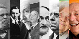 Alcuni tra i più famosi premi Nobel italiani: da sinistra, Giosuè Carducci, Guglielmo Marconi, Luigi Pirandello, Enrico Fermi, Salvatore Quasimodo, Eugenio Montale, Rita Levi Montalcini, Dario Fo