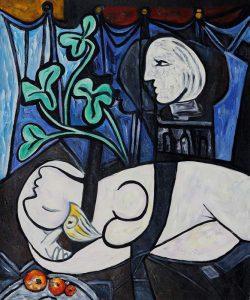 Nudo, foglie verdi e busto di Pablo Picasso