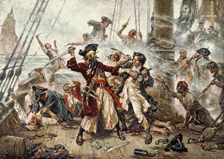 La cattura di Barbanera, uno dei più famosi pirati della storia, in un dipinto d'epoca