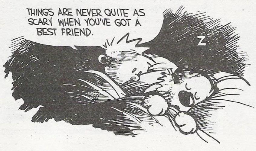 Calvin dorme accanto a Hobbes in una bella vignetta di Bill Watterson su cosa sia un migliore amico